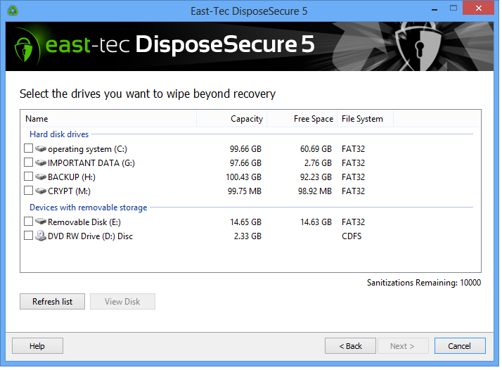 east-tec DisposeSecure Screen shot