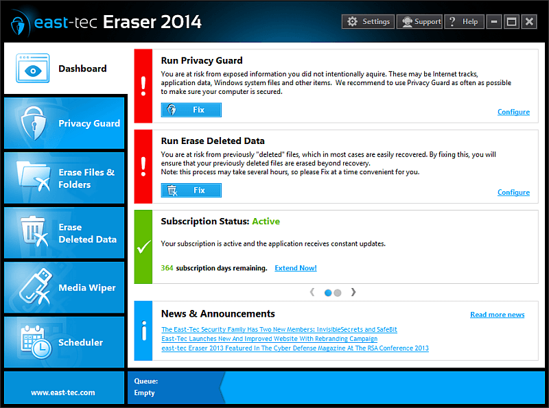 Click to view east-tec Eraser 2014 11.1.2 screenshot